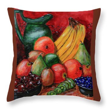 Fruit And Pitcher Throw Pillow by Melvin Turner