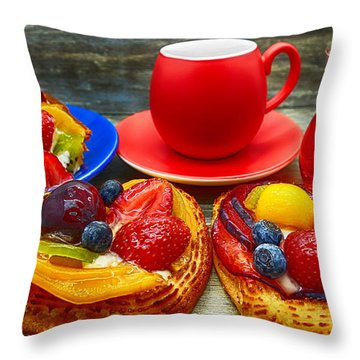 Fruit Desserts And Cup Of Coffee Throw Pillow