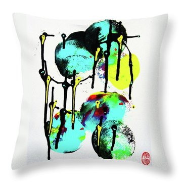 Throw Pillow featuring the painting Fugu Ni by Roberto Prusso
