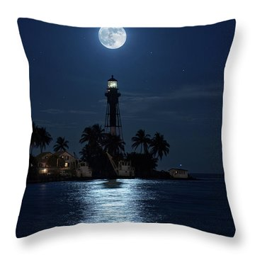 Full Moon Over Hillsboro Lighthouse In Pompano Beach Florida Throw Pillow by Justin Kelefas