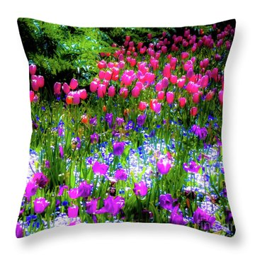 Garden Flowers With Tulips Throw Pillow