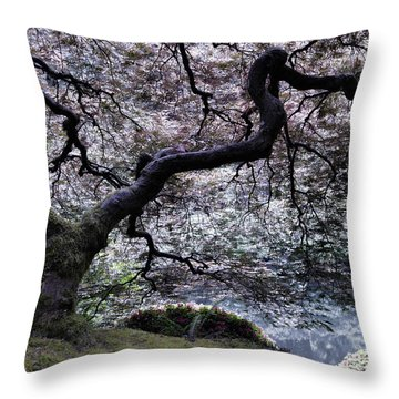 Garden View In Blue Throw Pillow by Don Schwartz