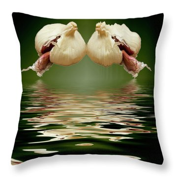 Throw Pillow featuring the photograph Garlic Cloves Of Garlic by David French