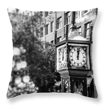 Throw Pillow featuring the photograph Gastown Steam Clock by Ross G Strachan