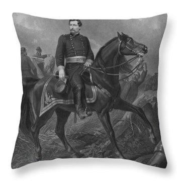 General George Mcclellan On Horseback Throw Pillow