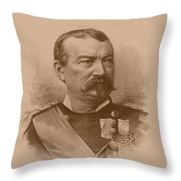 Throw Pillow featuring the drawing General Philip Sheridan by War Is Hell Store
