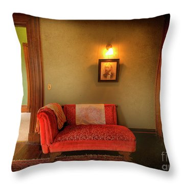 Throw Pillow featuring the photograph George's Red Sofa by Craig J Satterlee