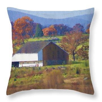 Gettysburg Barn Throw Pillow by Bill Cannon