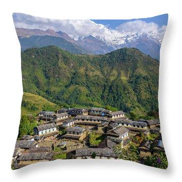 Ghandruk Village In The Annapurna Region Throw Pillow