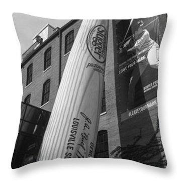 Giant Baseball Bat Adorns Throw Pillow