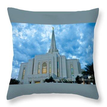 Gilbert Arizona Lds Temple Throw Pillow by Nick Boren