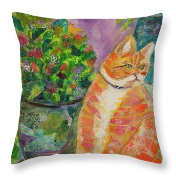Ginger With Flowers Throw Pillow