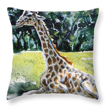 Throw Pillow featuring the painting Giraffe by Kovacs Anna Brigitta