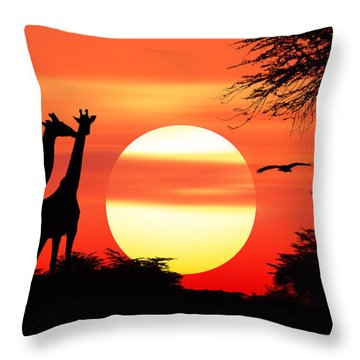 Giraffes At Sunset Throw Pillow