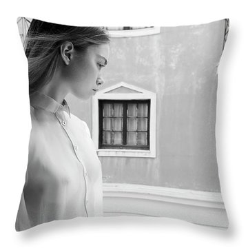 Girl In Profile Throw Pillow