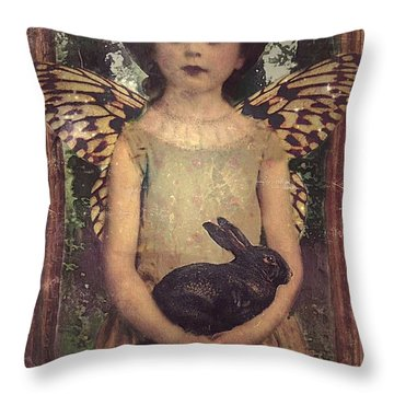 Throw Pillow featuring the digital art Girl In The Garden by Alexis Rotella