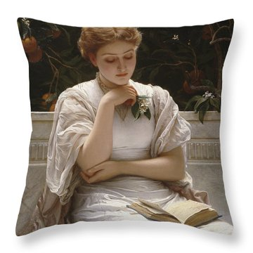 Girl Reading Throw Pillow