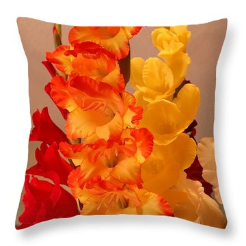 Gladiolas Throw Pillow by Farol Tomson