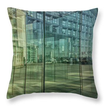 Throw Pillow featuring the photograph Glass Panels At Le Grande Arche by Patricia Hofmeester
