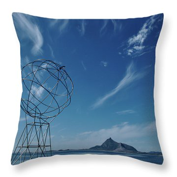 Globe Symbol View  On Sky Background In Norway Throw Pillow