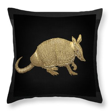 Gold Armadillo On Black Canvas Throw Pillow