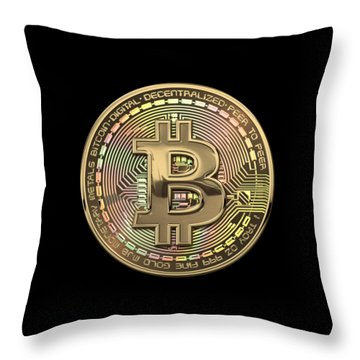 Gold Bitcoin Effigy Over Black Canvas Throw Pillow