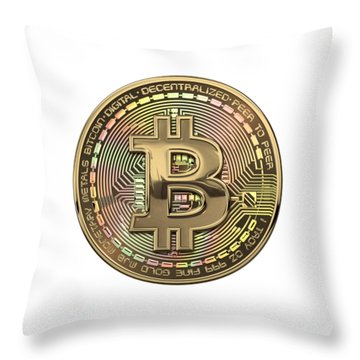 Gold Bitcoin Effigy Over White Leather Throw Pillow