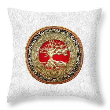 Gold Celtic Tree Of Life On White Leather  Throw Pillow