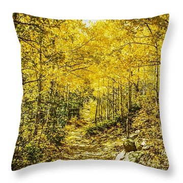 Golden Aspens In Colorado Mountains Throw Pillow