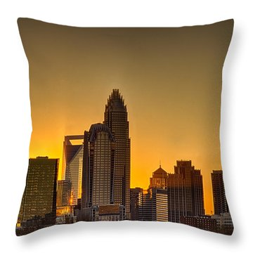 Golden Charlotte Skyline Throw Pillow