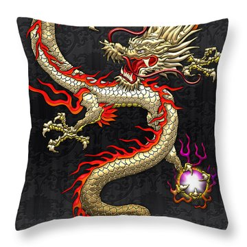 Golden Chinese Dragon Fucanglong  Throw Pillow