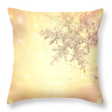 Golden Christmas Background Throw Pillow