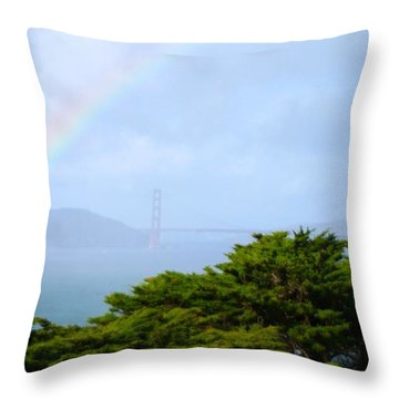 Golden Gate Bridge By Rainbow Throw Pillow