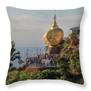 Golden Rock - Myanmar Throw Pillow