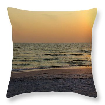 Golden Setting Sun Throw Pillow by Angela Rath