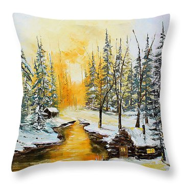 Golden Winter Throw Pillow