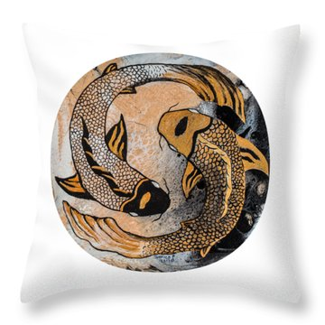 Throw Pillow featuring the painting Golden Yin And Yang by Darice Machel McGuire