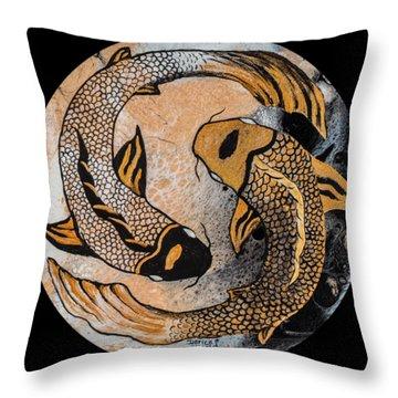 Golden Yin And Yang Throw Pillow