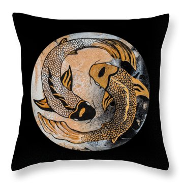 Golden Yin And Yang Throw Pillow