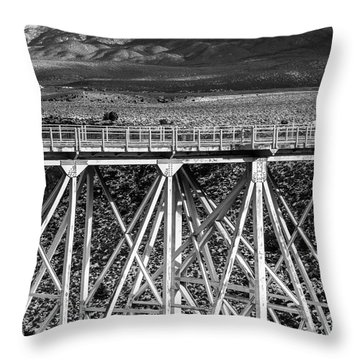 Gorge Bridge Black And White Throw Pillow