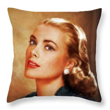 Grace Kelly, Actress And Princess Throw Pillow by Mary Bassett