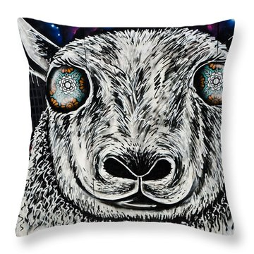 Graffiti Sheep Throw Pillow