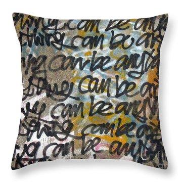 Graffiti Writing Throw Pillow by Yali Shi