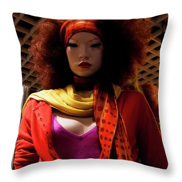 Colored Girl Throw Pillow