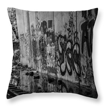 Graffitti And Train Tracks Throw Pillow