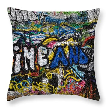 Grafitti On The U2 Wall, Windmill Lane Throw Pillow by Panoramic Images