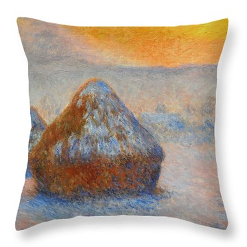 Grainstacks At Sunset, Snow Effect, 1891 Throw Pillow