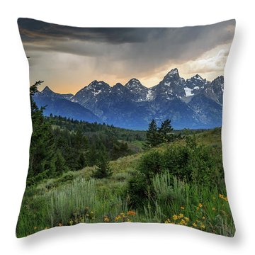 Grand Stormy Sunset Throw Pillow