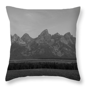 Grand Teton Mountain Range At Sunrise Panorama Throw Pillow