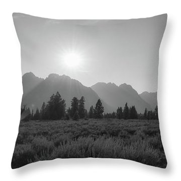 Grand Teton National Park Sun Burst Throw Pillow